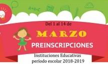 Instituciones educativas inician mañana jueves 1/03 preinscripción para período escolar 2018-2019
