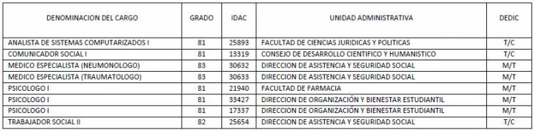 Cuadro Concurso personal Administrativo Profesional - Caracas